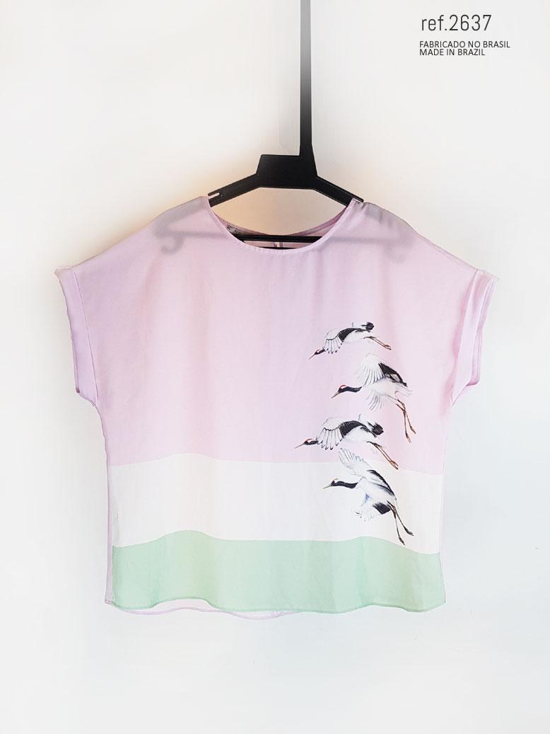 blusinha rosa com branco e verde