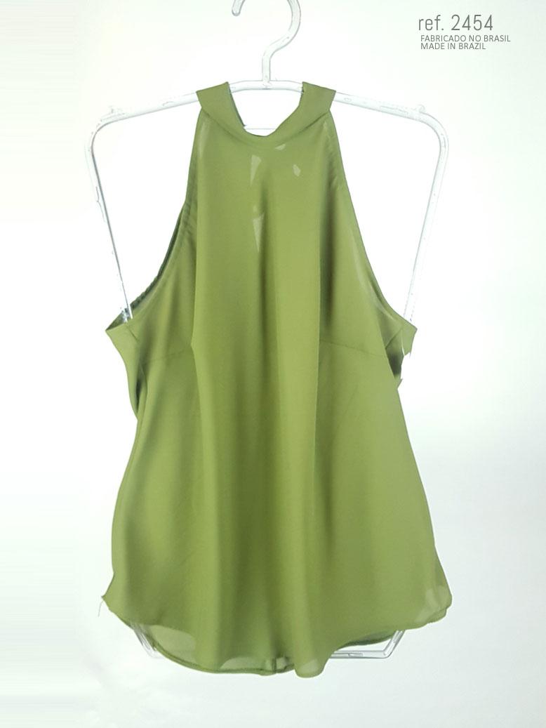 Blusa  gola alta verde com faixa para amarrar ref. 2454