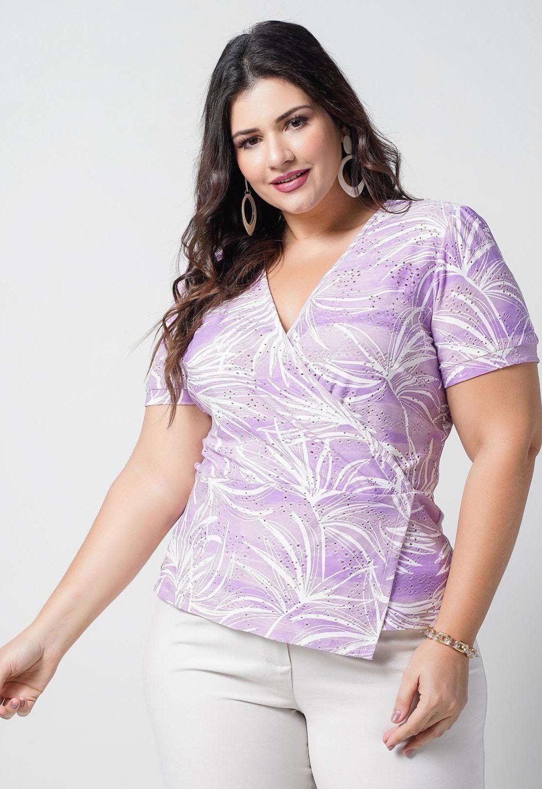 Blusa laise de malha lilás plus size  Ref. U66221