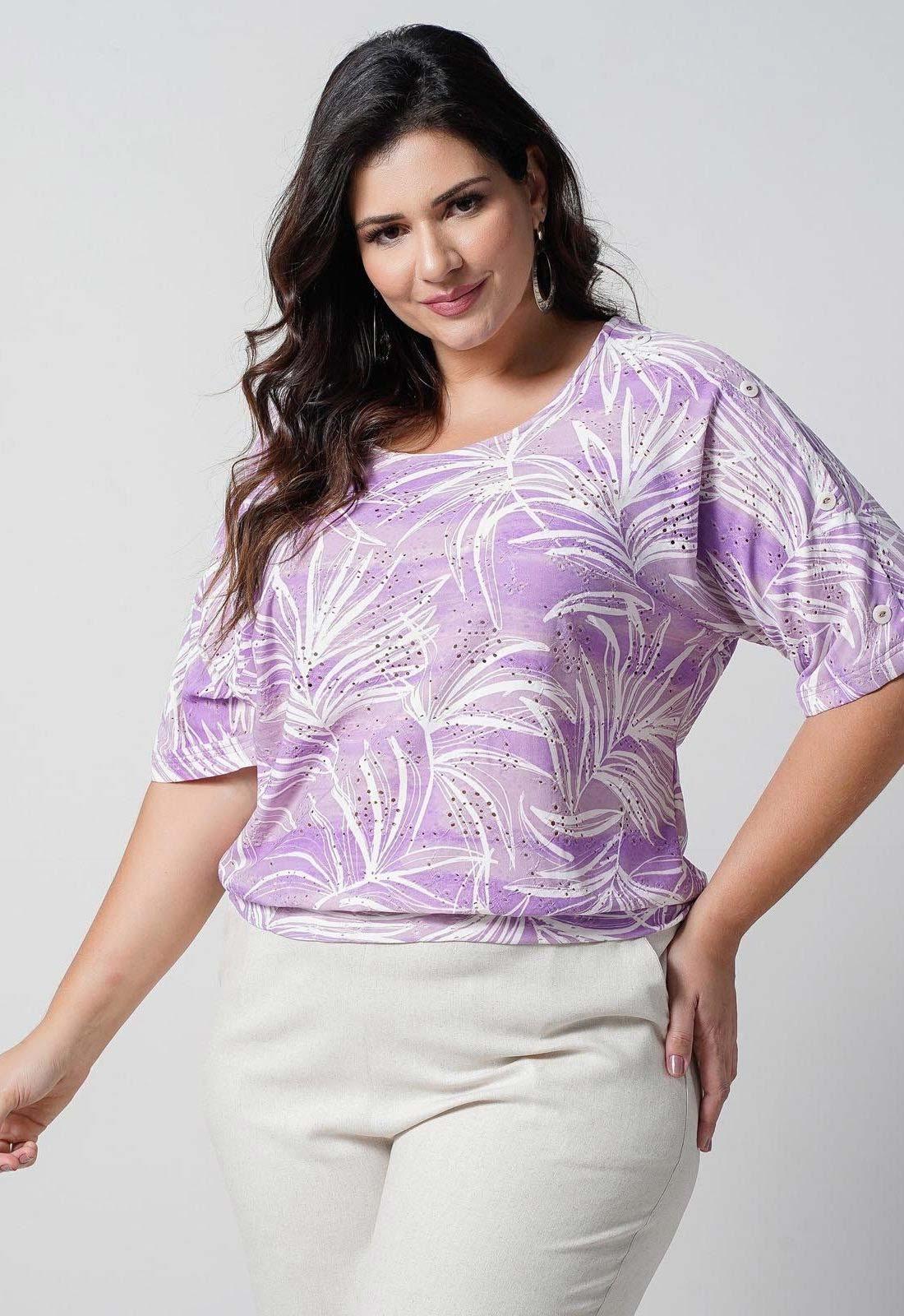 Blusa lilás laise de malha  plus size  Ref. U66321