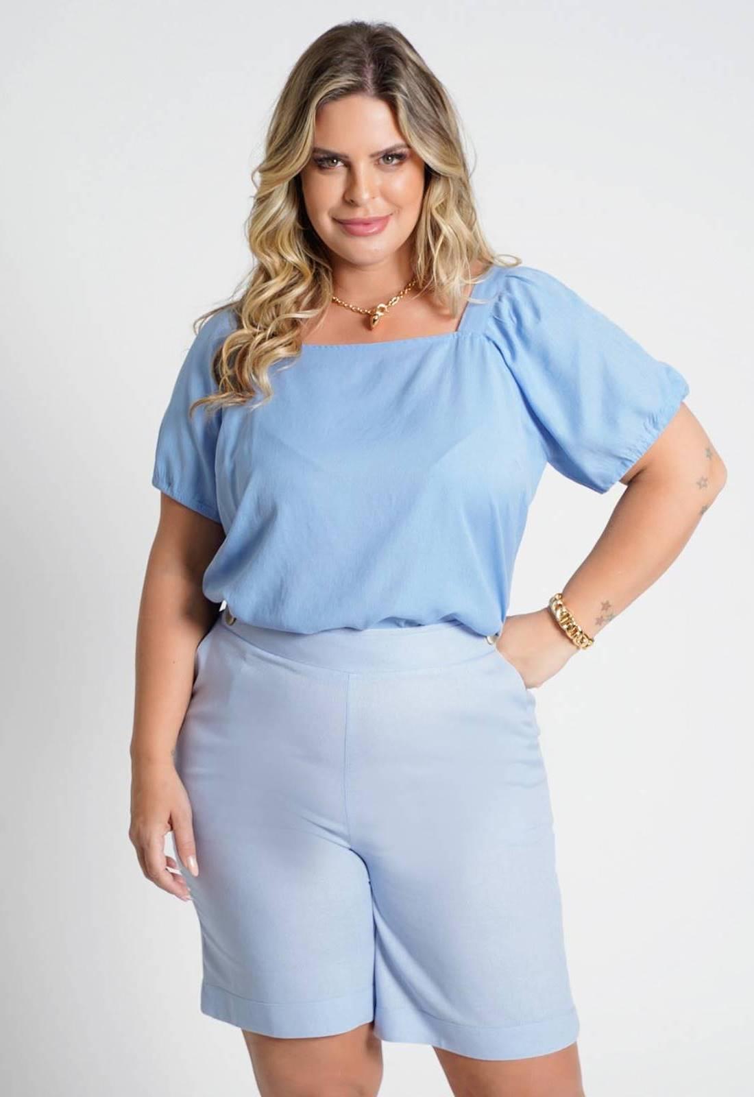Blusa lisa com amarração costas azul Ref. U77121