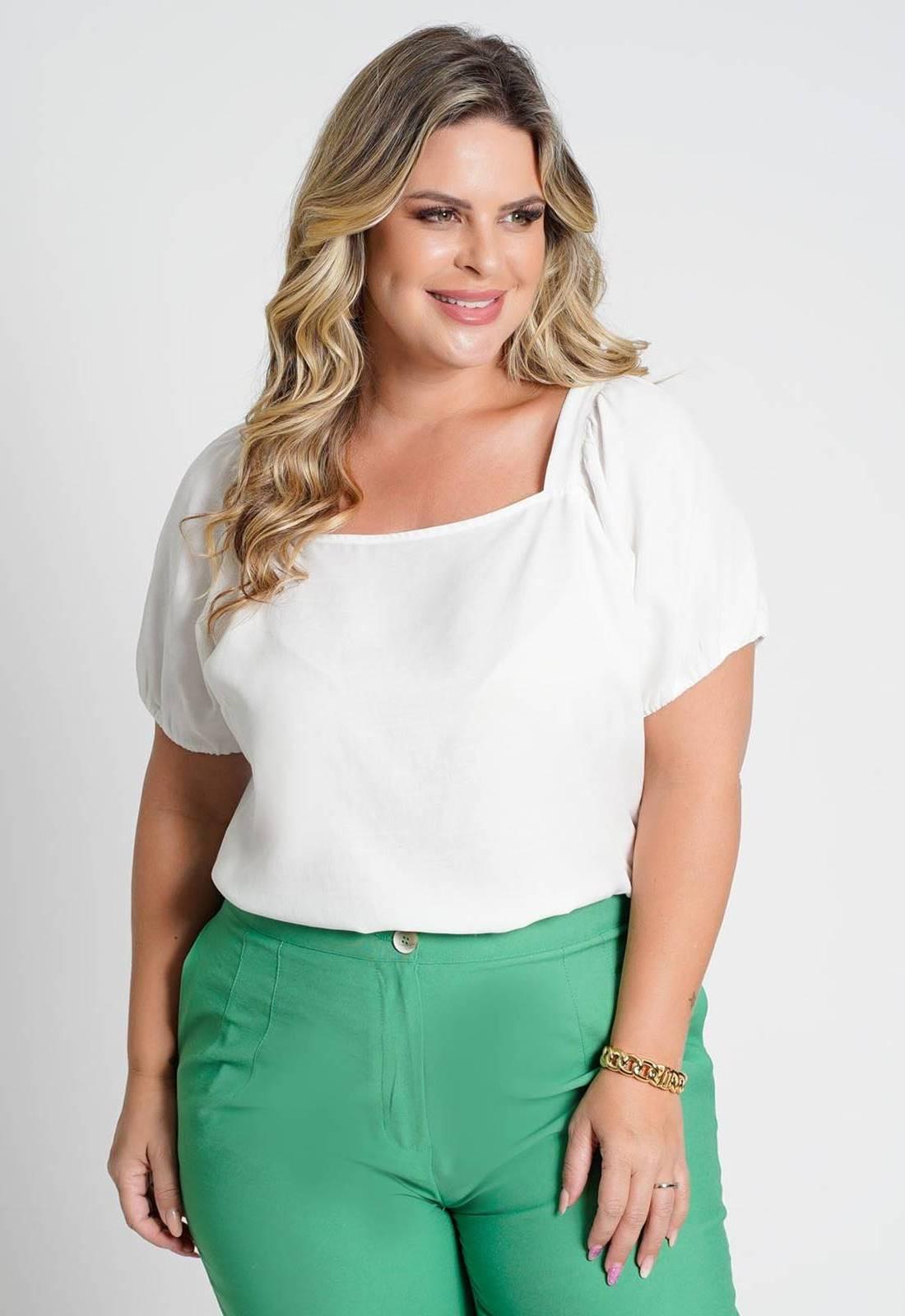 Blusa lisa com amarração costas branco Ref. U77121