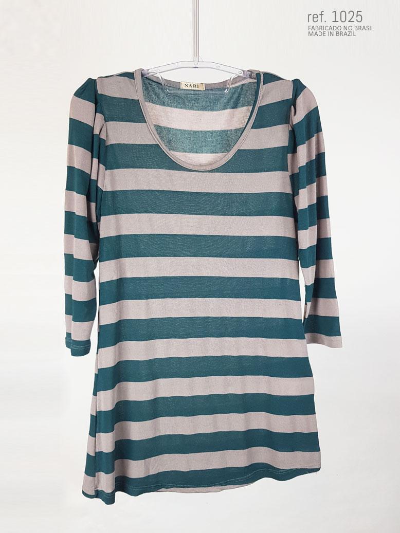 Blusa listrada verde com cinza ref. 1025