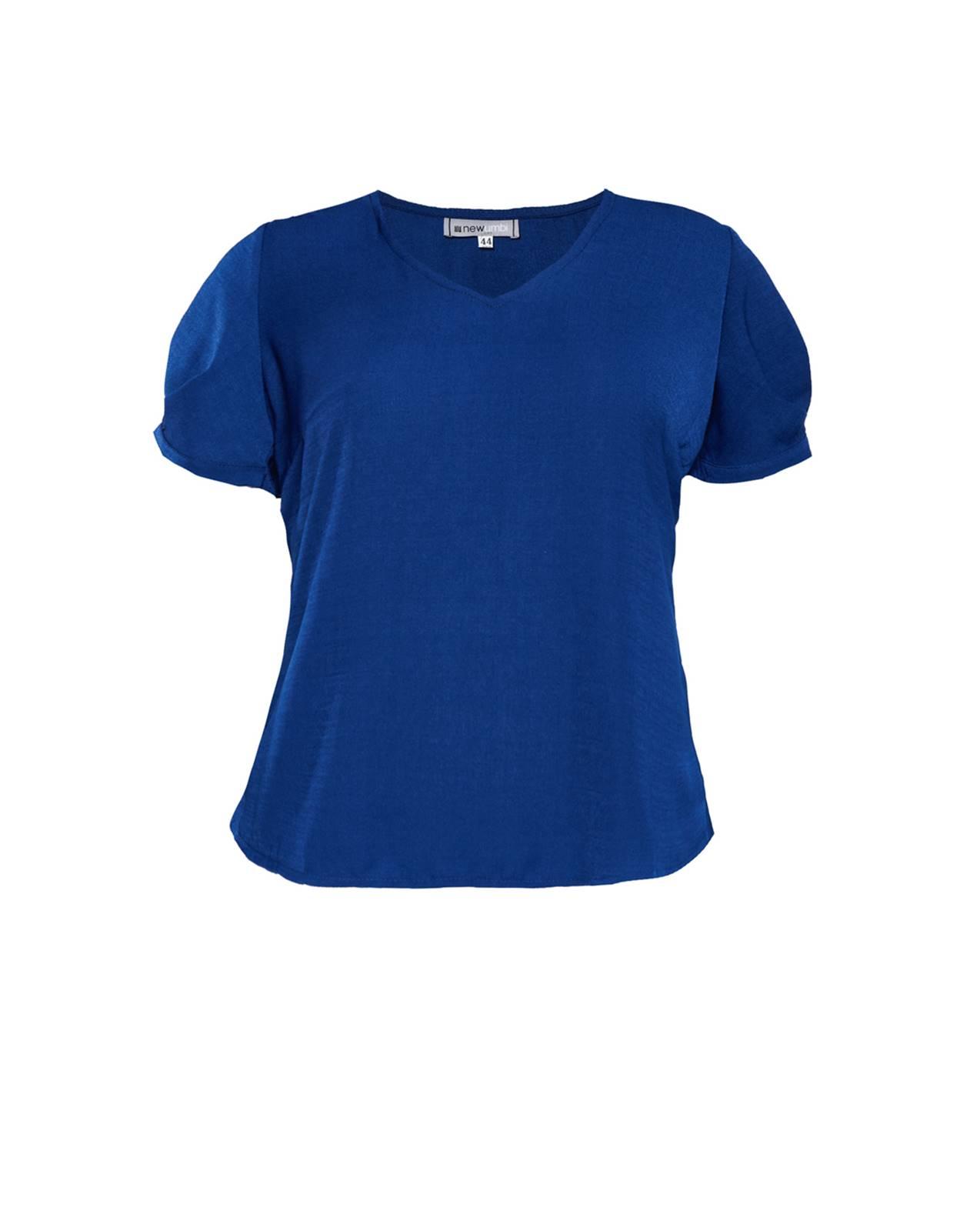 Blusa plus size azul de manguinha Ref.  U59121
