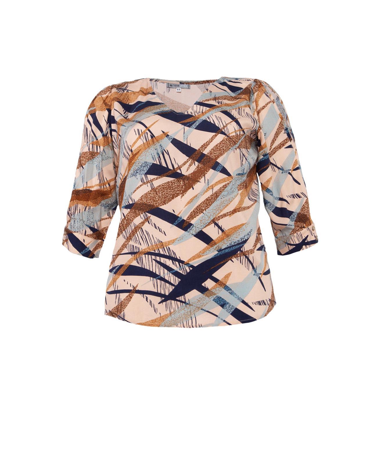 Blusa plus size azul estampada de manguinha 3/4  Ref. U60121