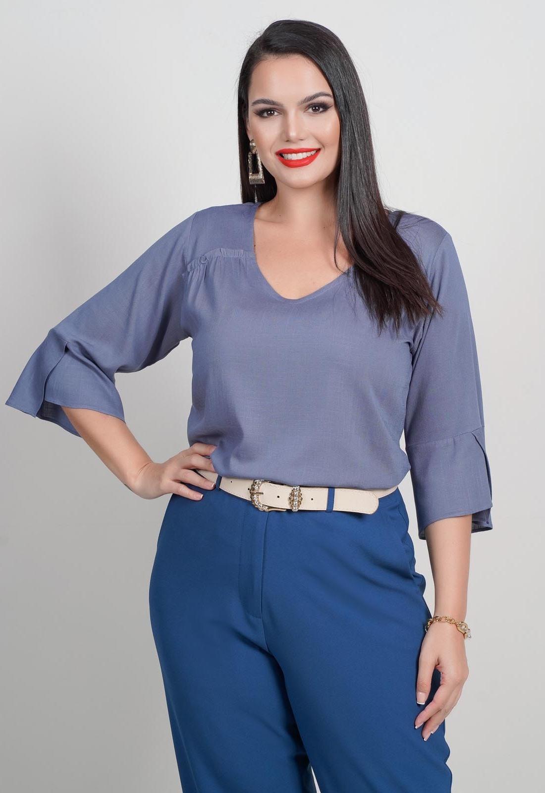 Blusa plus size azul lisa com manga Ref. U64921