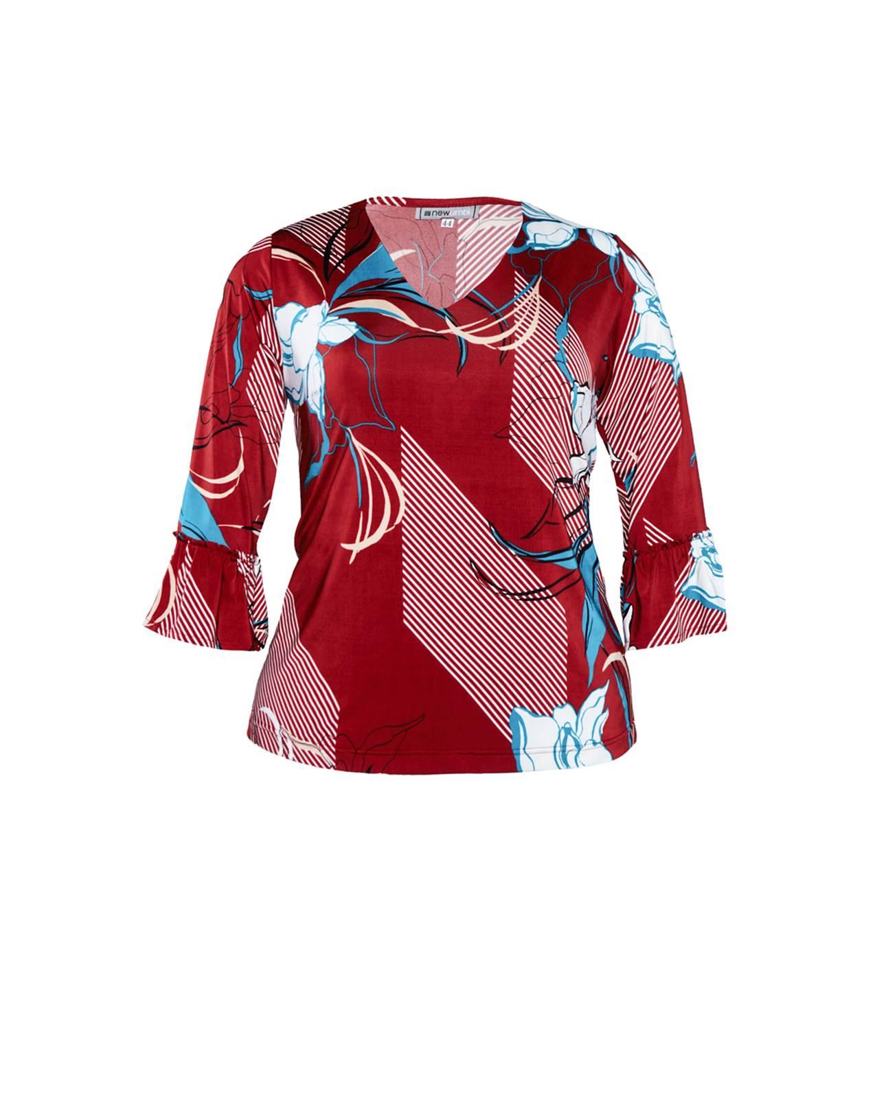 Blusa plus size vermelha estampada com manguinha Ref.  U61321