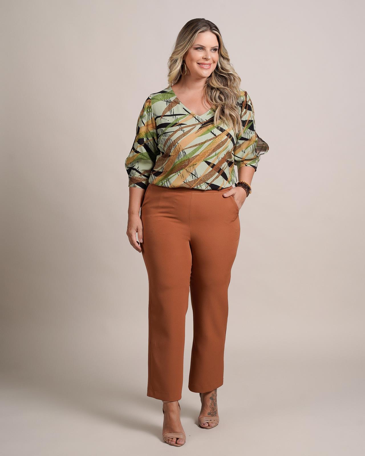 Blusa plus size estampada de manguinha 3/4  Ref. U60121