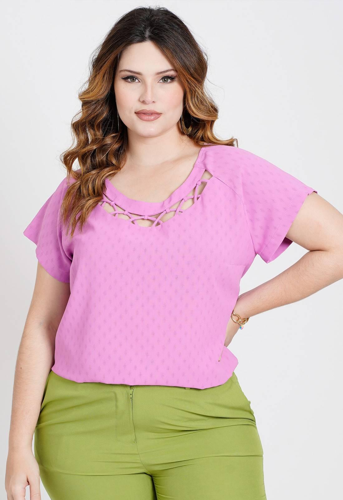 Blusa plus size rosa maquinetada  Ref. U81221
