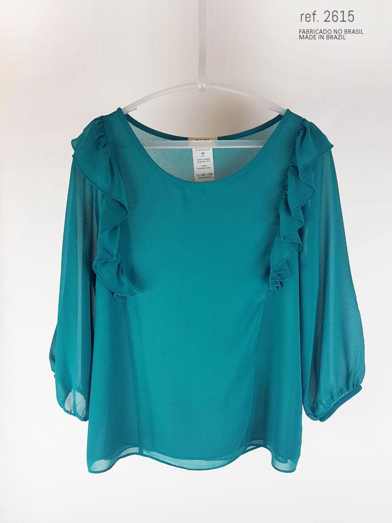 Blusa social feminina com babado azul petróleo ref. 2615