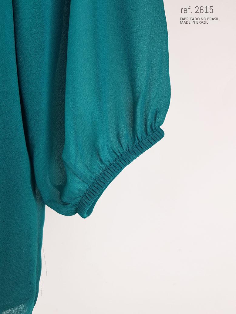 blusa social feminina azul petróleo