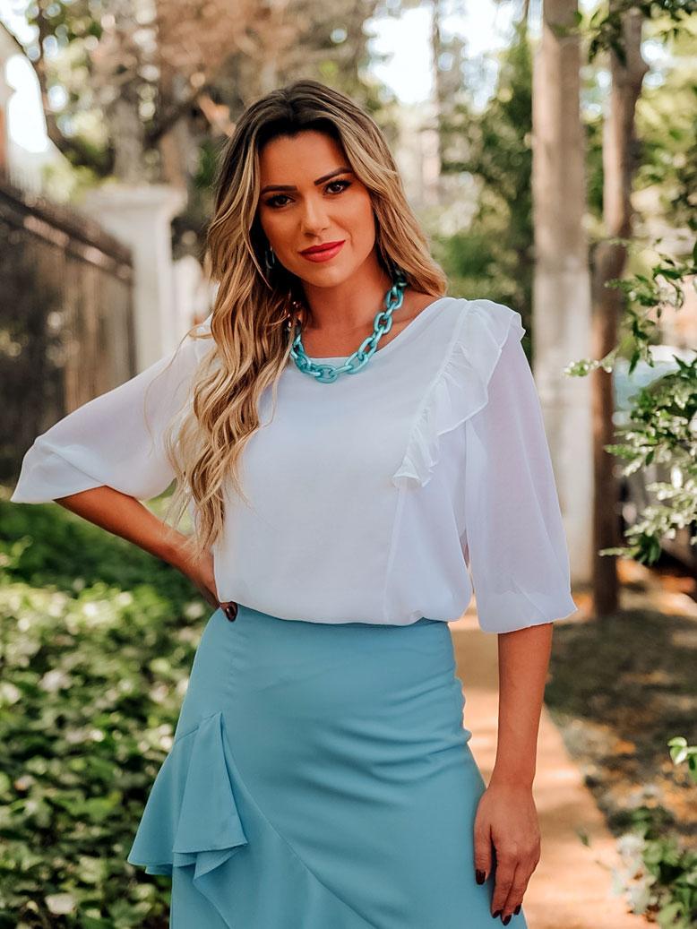Blusa social feminina com babado branco ref. 2615