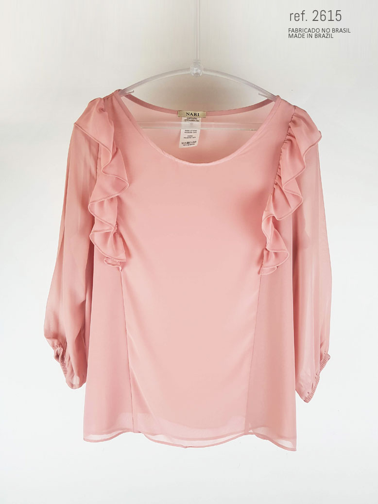 Blusa social feminina com babado rosê ref. 2615