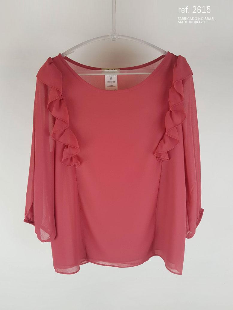 Blusa social feminina com babado Vermelho Goiaba ref. 2615