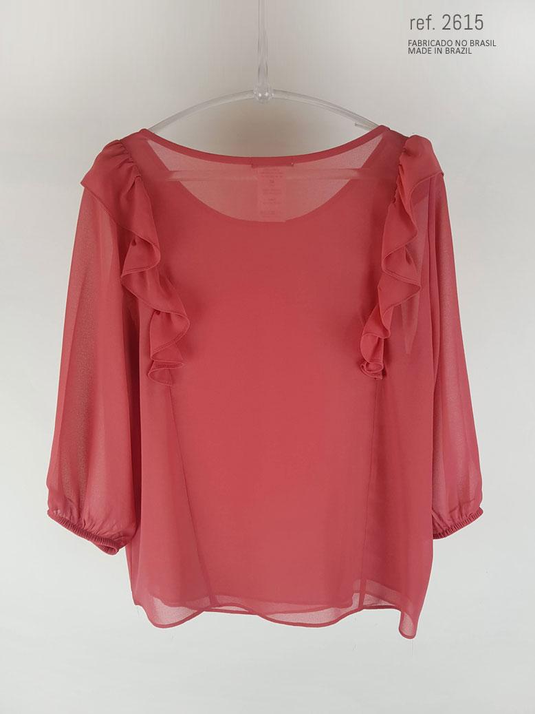 blusa com babado vermelho goiaba
