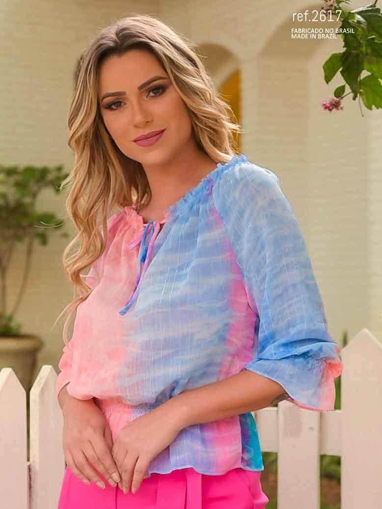 Blusa ombro a ombro tiedye azul ref. 2617
