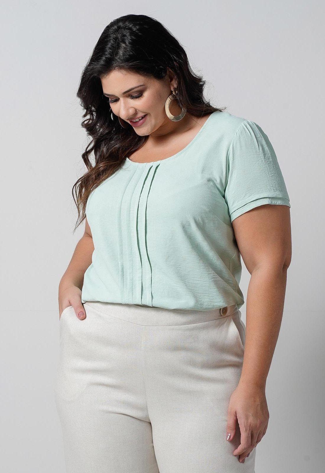 Blusa verde maquinetada poá plus size  Ref. U65821