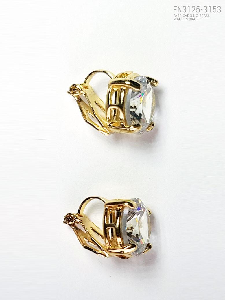Brinco de pressão com pedra imitando diamante  cod. FN010383125