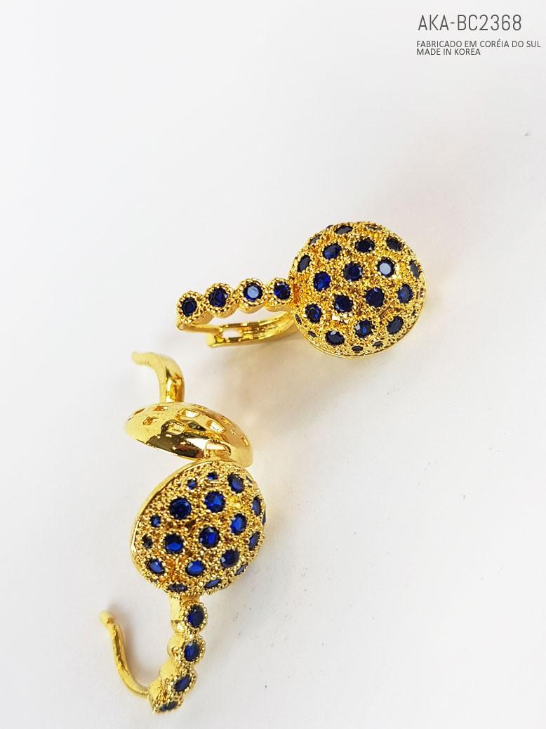Brinco de pressão dourado com pedra imitando  cristal azul - AKA-BC 2368