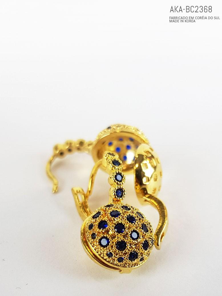 Brinco de cristais dourado