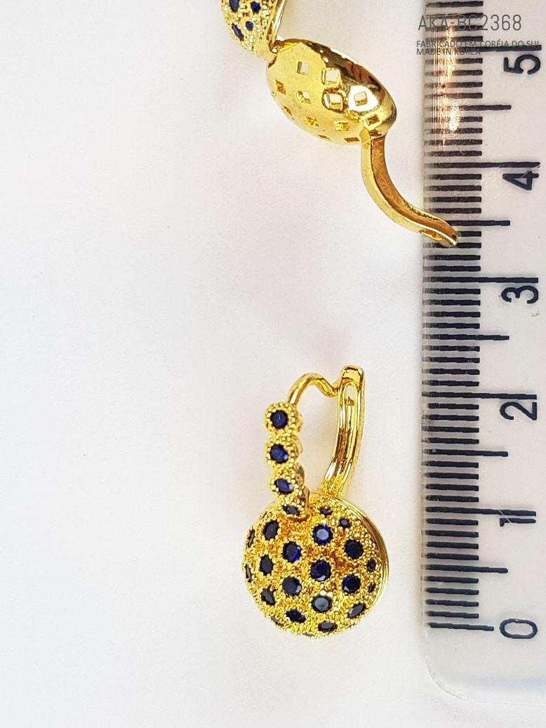 brinco de pressão com cristais base dourada