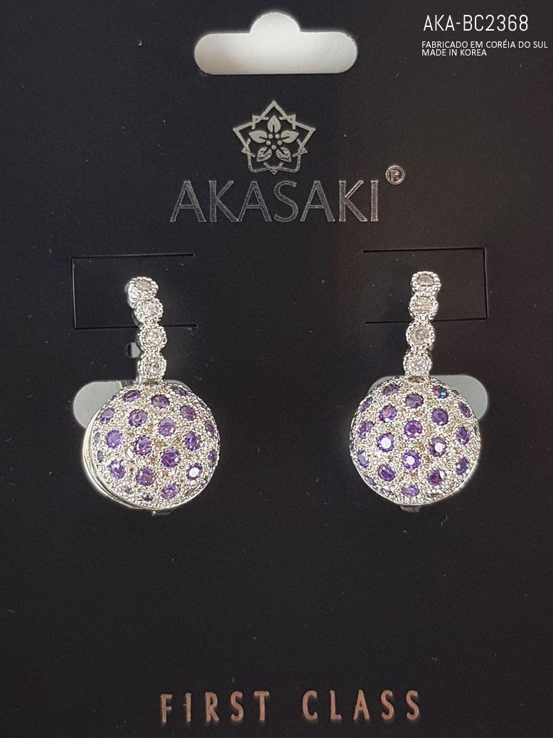 Brinco de pressão prateado com pedra imitando cristal lilás - AKA-BC 2368