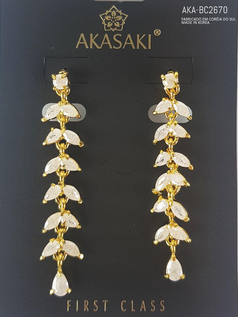 Brinco dourado com cristal branco- AKA-BC2670