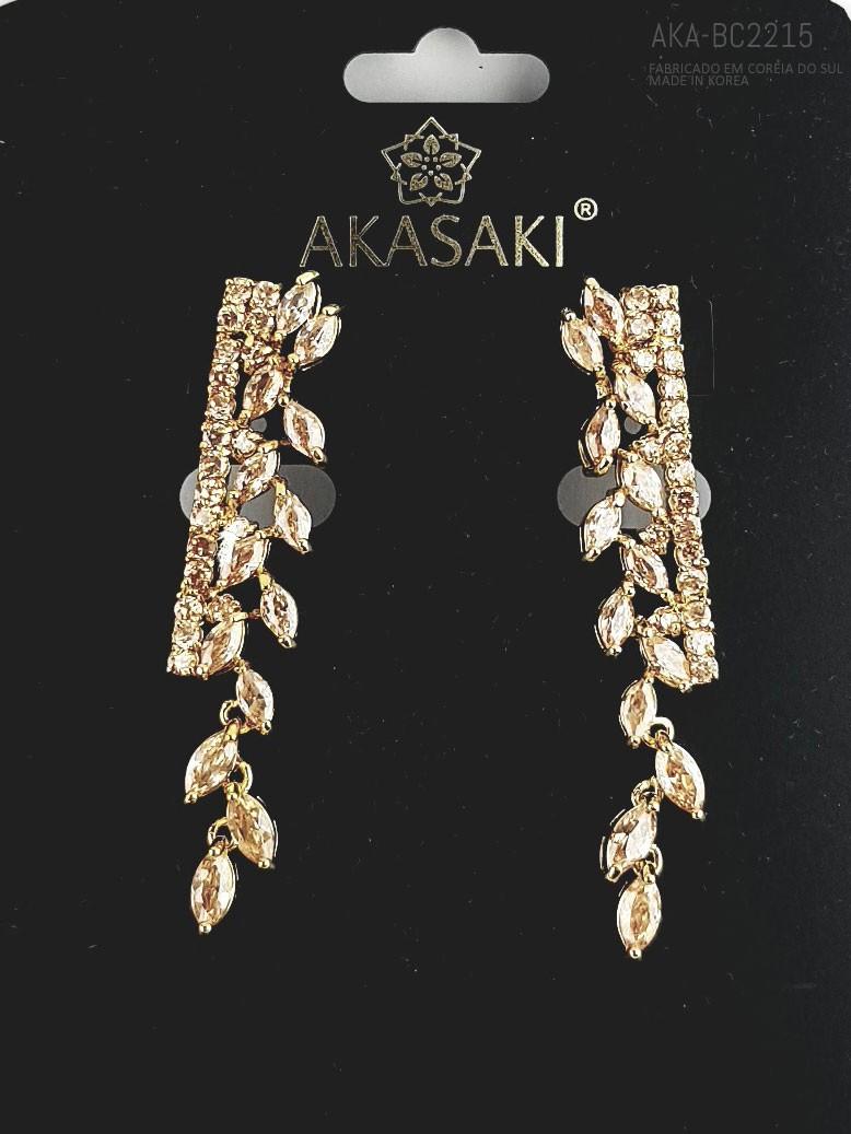 Brinco dourado com cristal topázio- AKA-BC1990