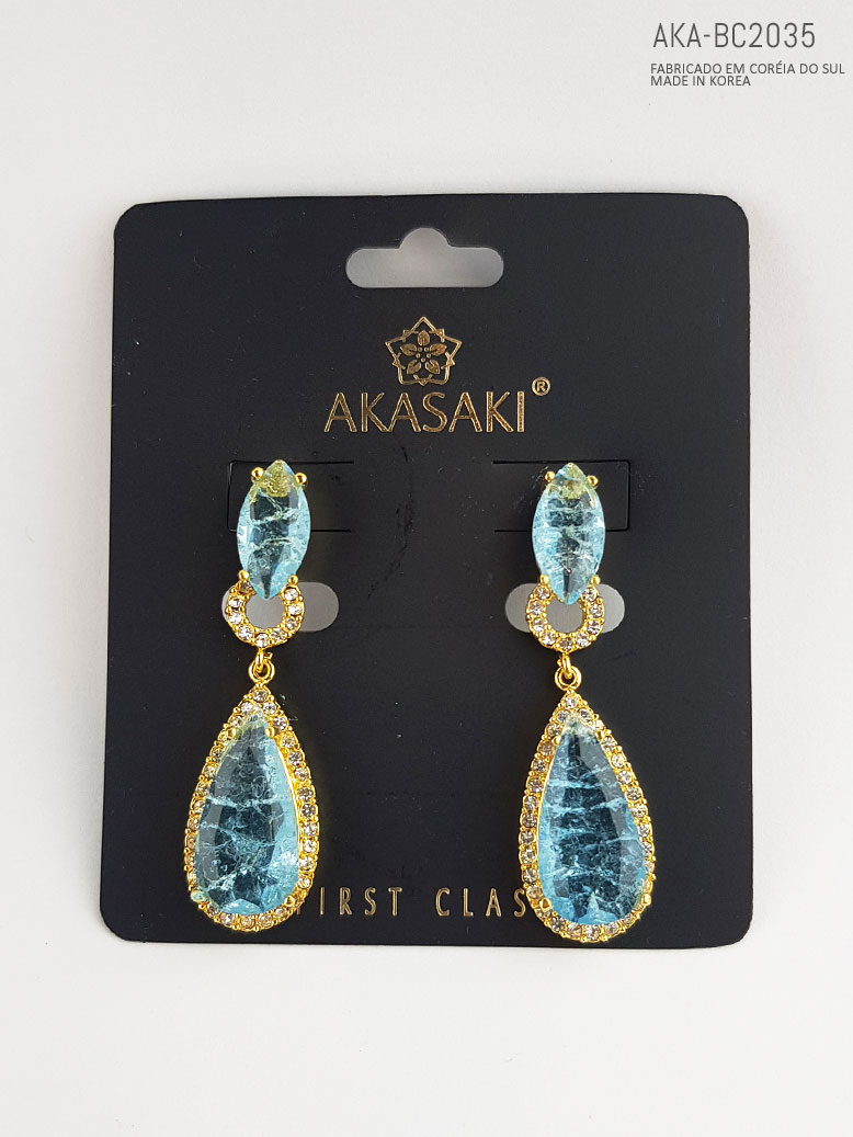 Brinco feminino dourado azul  - AKA-BC2035