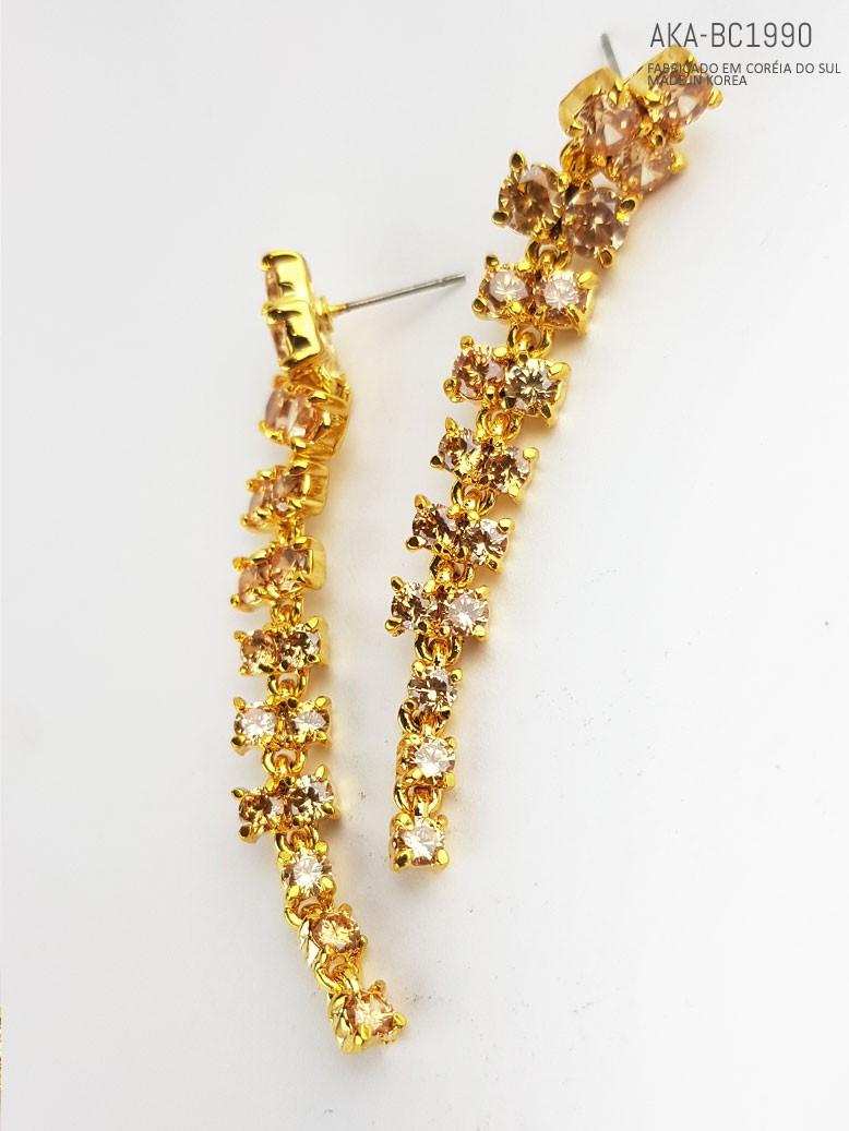 Brinco feminino dourado com cristal topázio - AKA-BC1990