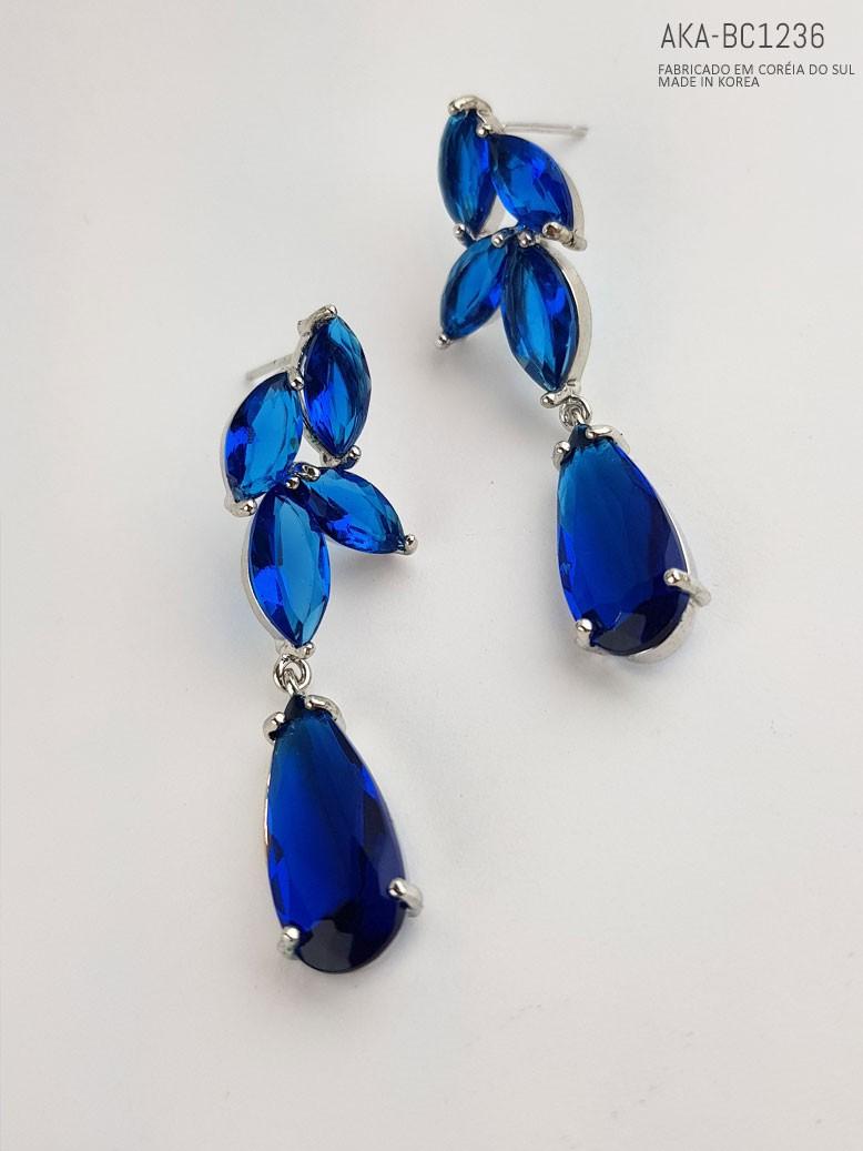 Brinco feminino prateado azul  - AKA-BC1236