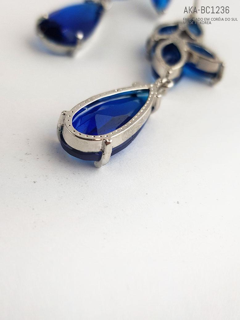 brinco de criastal azul