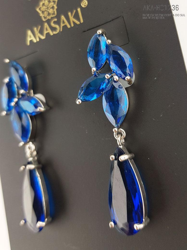 brincos com cristal azul