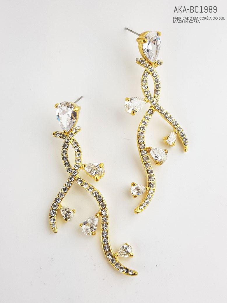 Brinco feminino dourado com cristal - AKA-BC1989