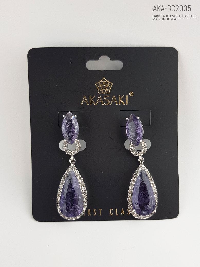 Brinco feminino prateado lilás - AKA-BC2035