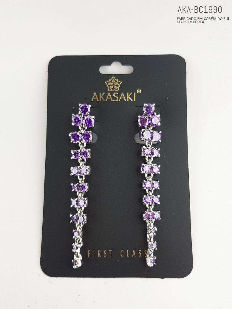 Brinco feminino prateado com cristal lilás  - AKA-BC1990