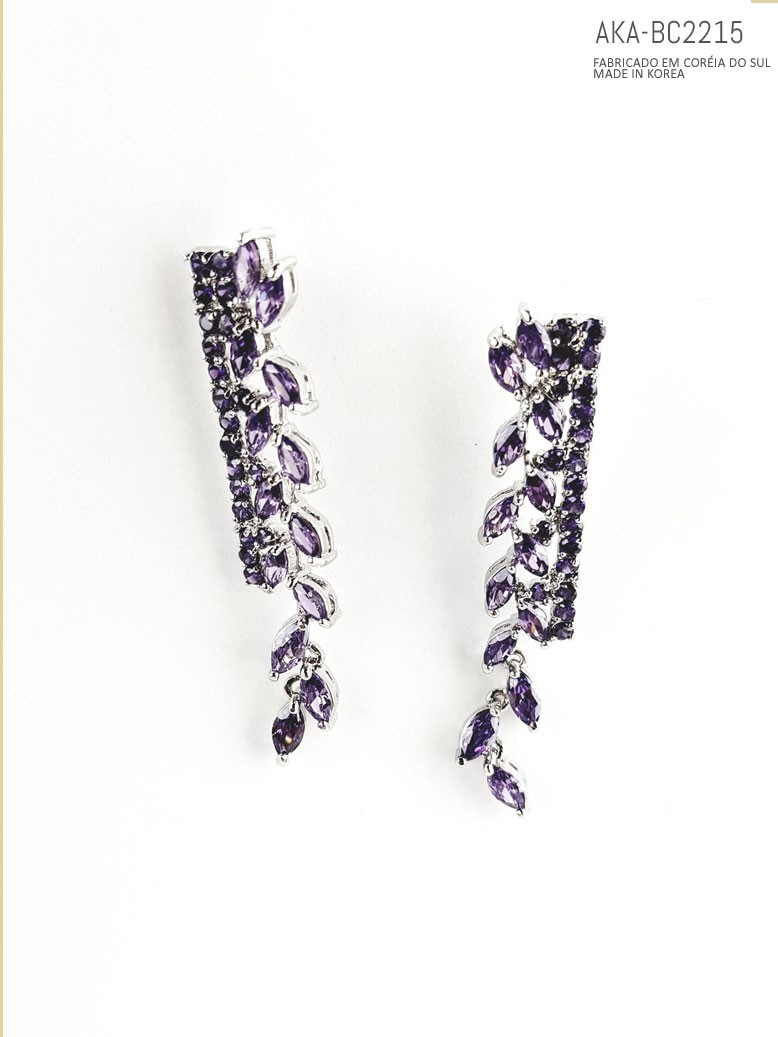 Brinco prateado com cristal lilás AKA-BC2215