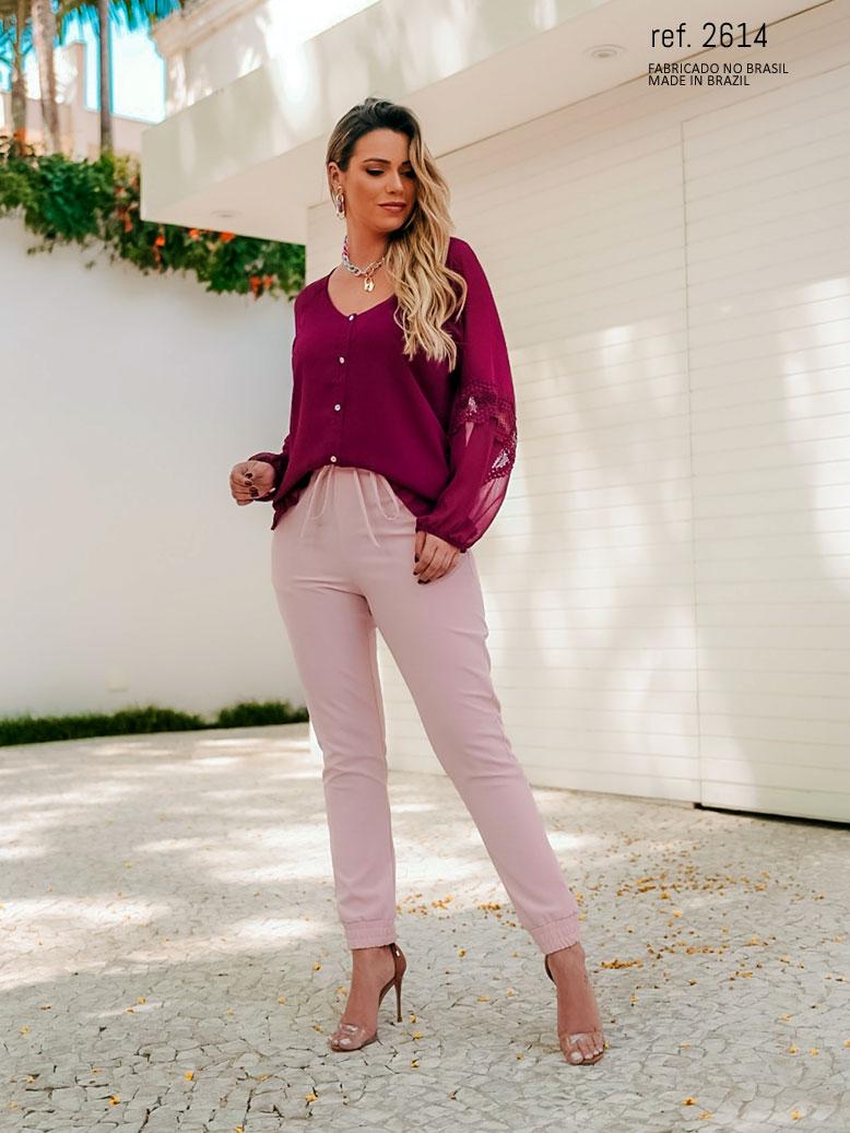 calça jogger rosa
