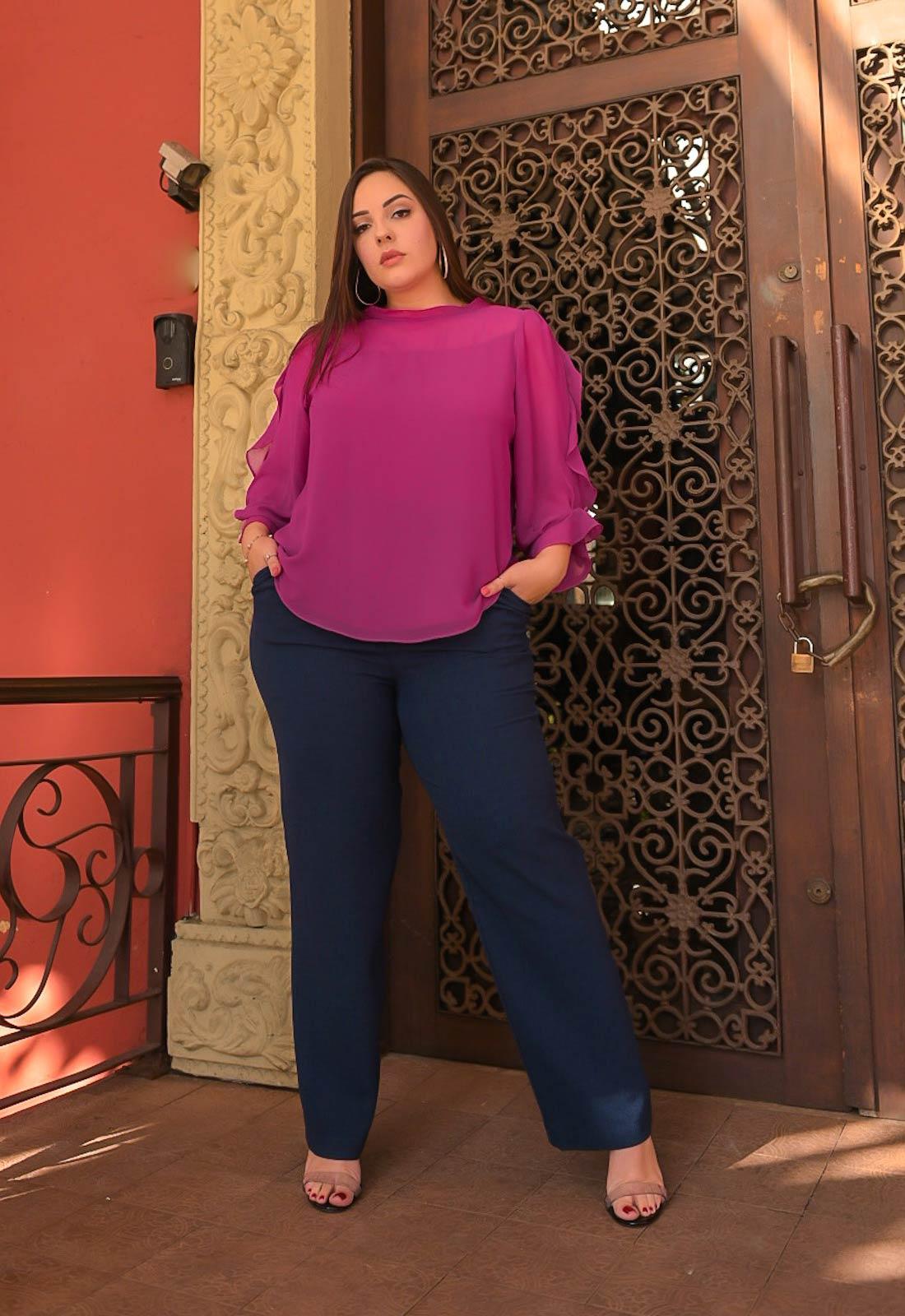 Calça pantalona feminina com bolso ref. 2666