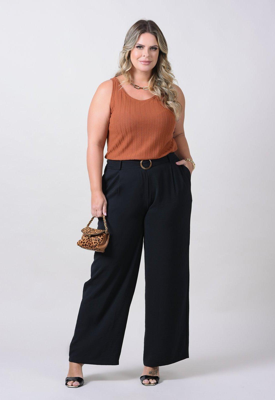 Calça plus size pantalona com cinto Ref.  U65721