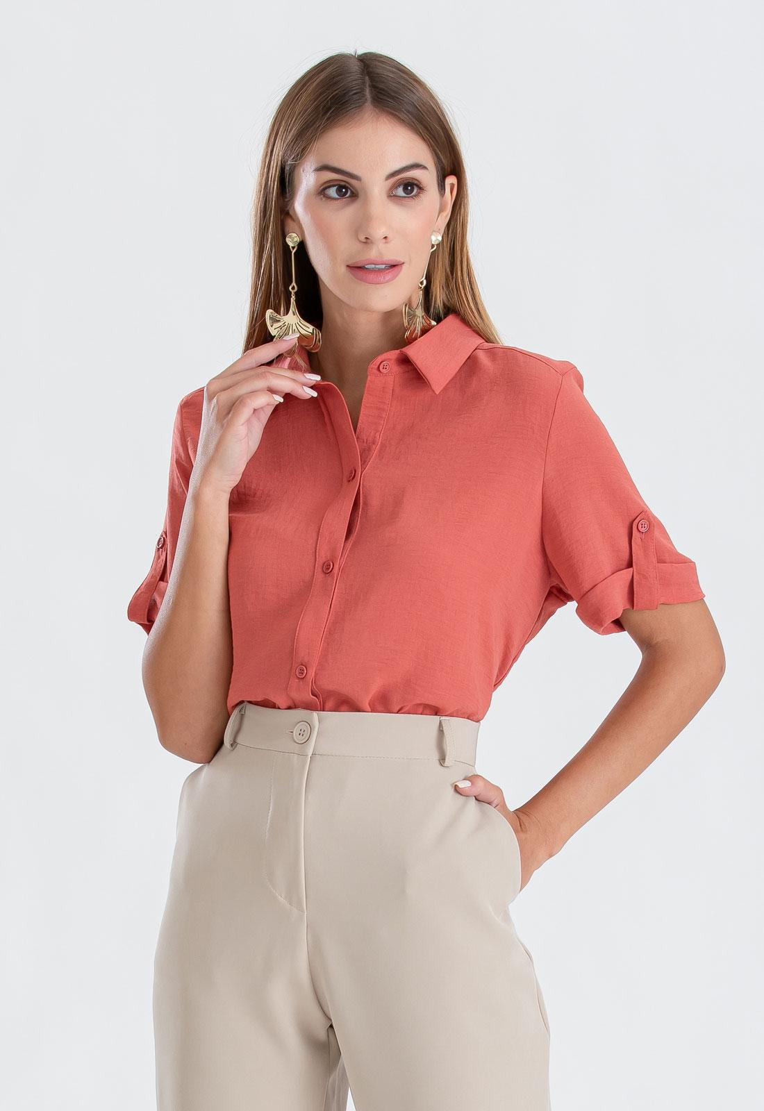 Camisa feminina terracota manga curta ref. 2650