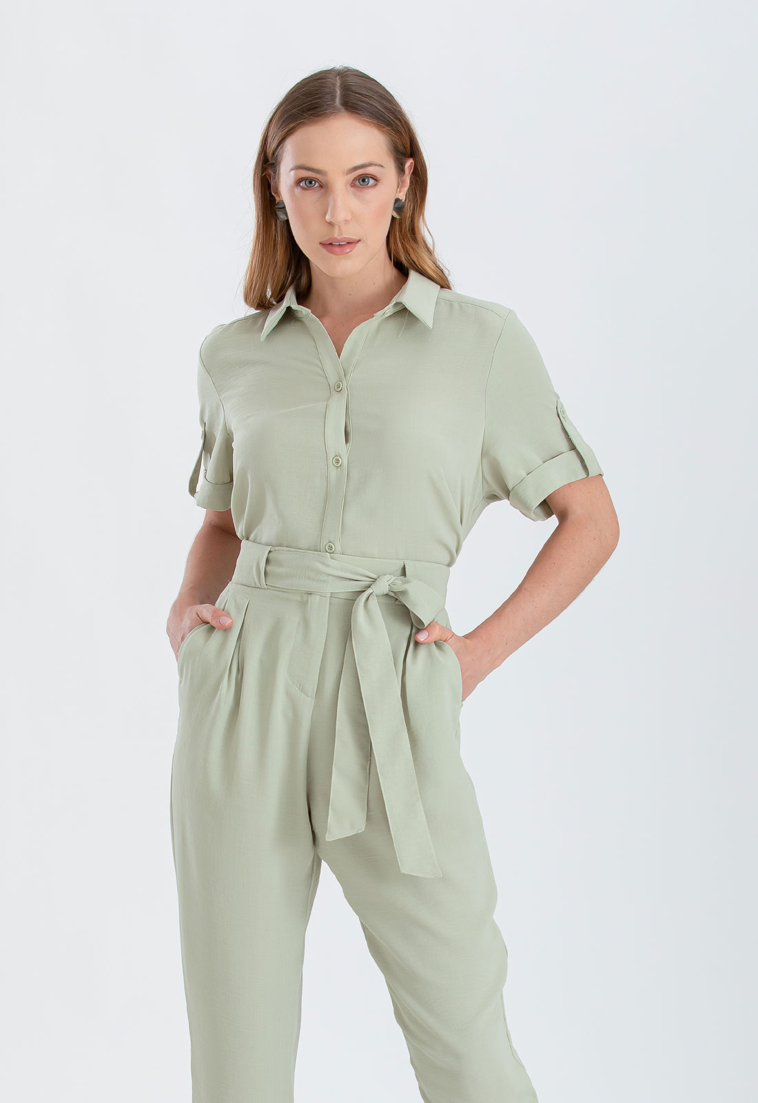Camisa feminina verde manga curta ref. 2650