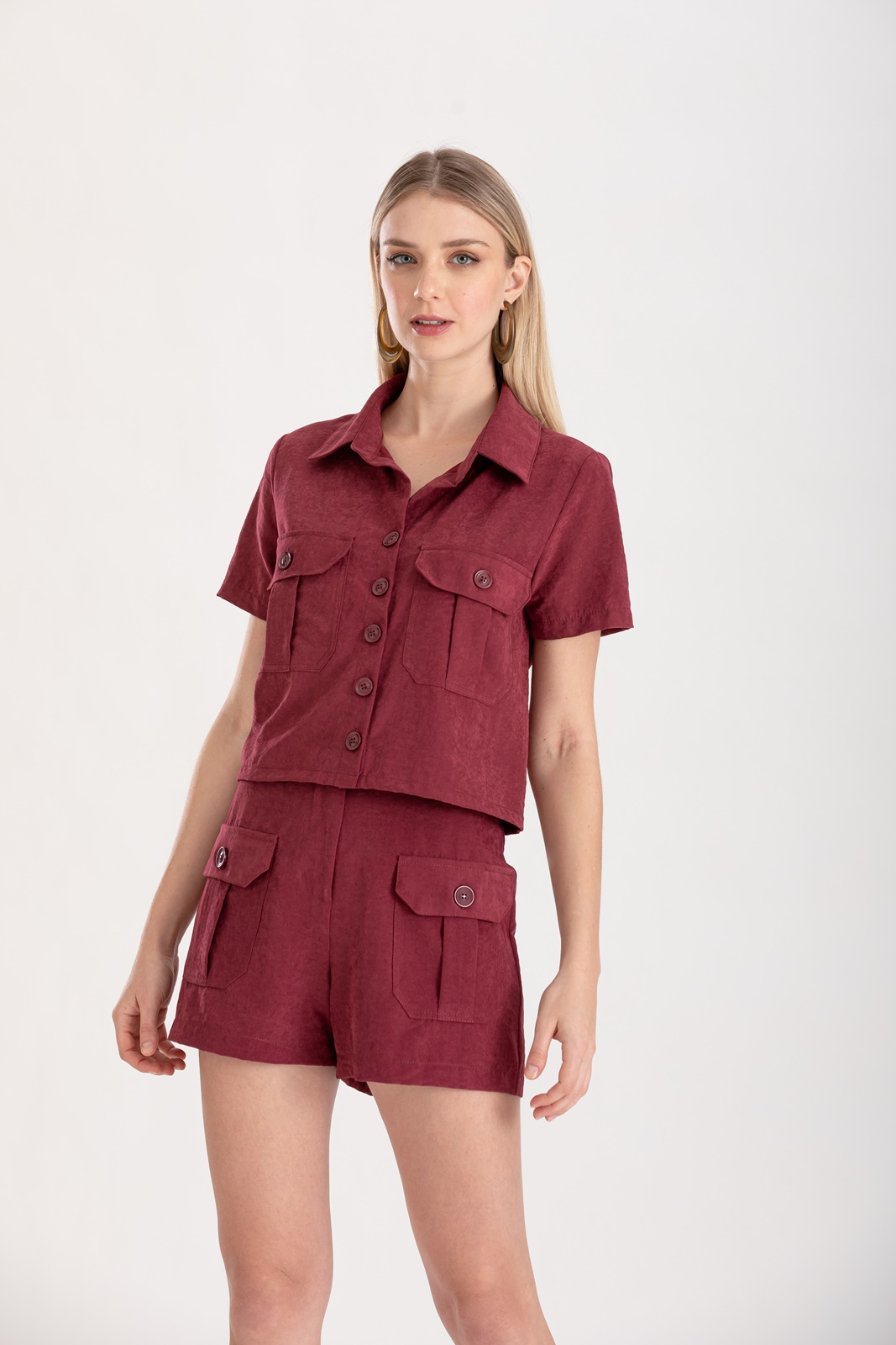 Camisa marsala com bolso ref. F12305