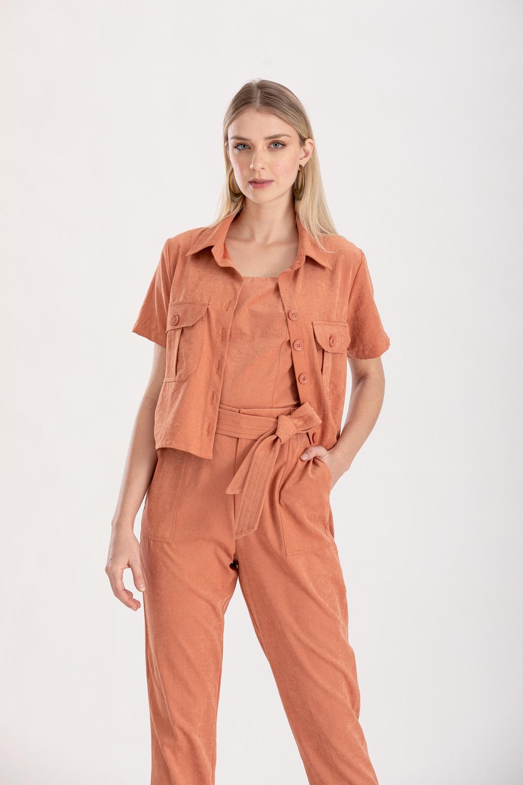 Camisa terracota com bolso ref. F12305