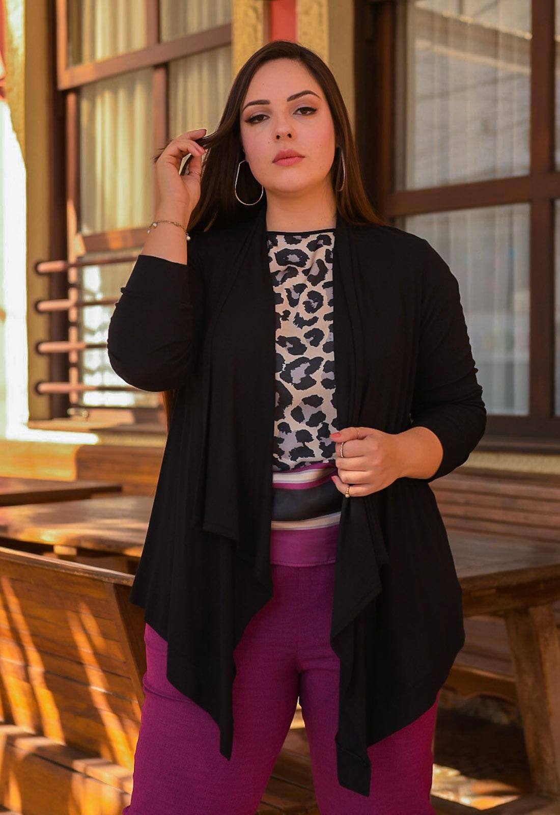 Cardigan feminino tricot preto ref. 2665