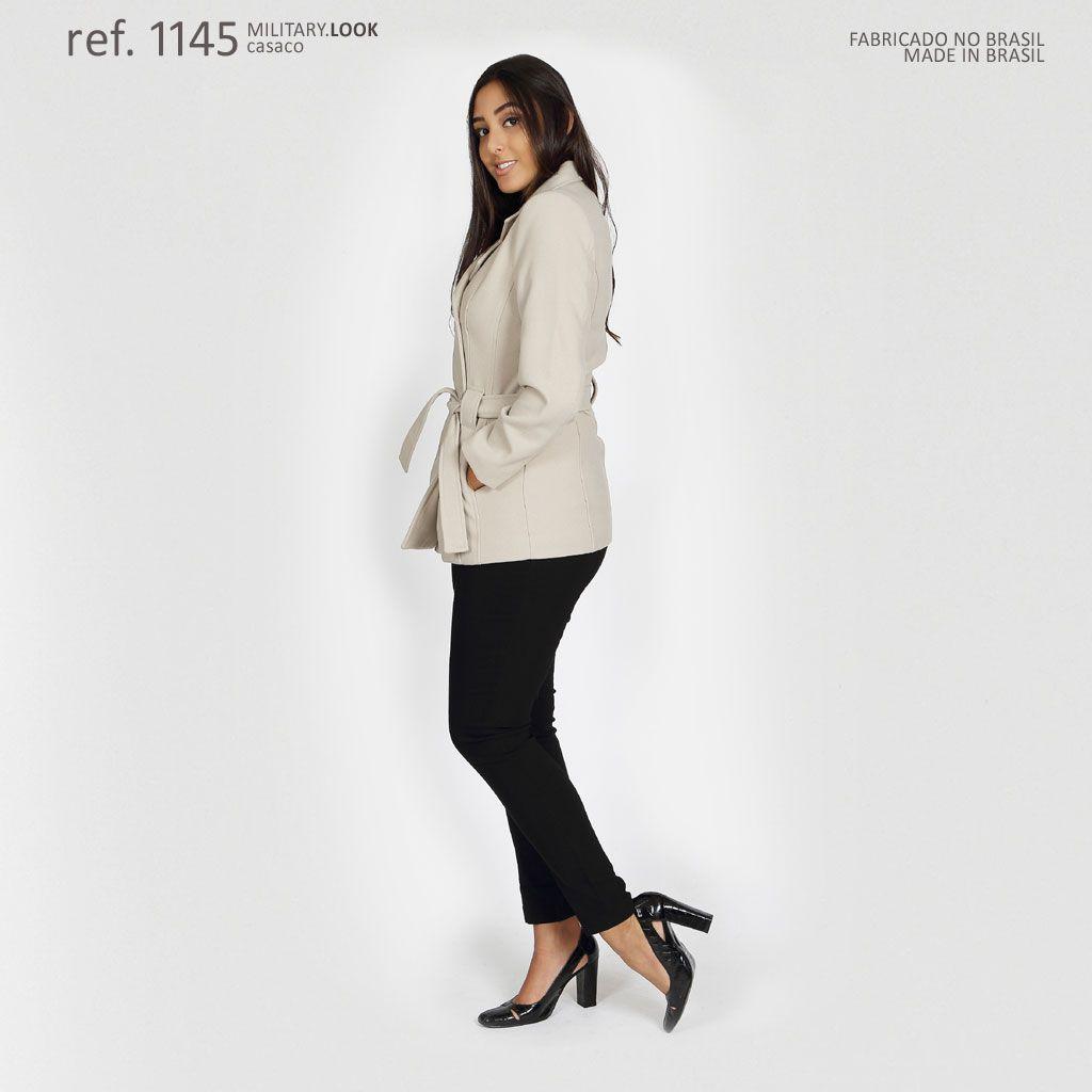 Casaco lã batido feminino Areia ivory limited - Ref. 1145