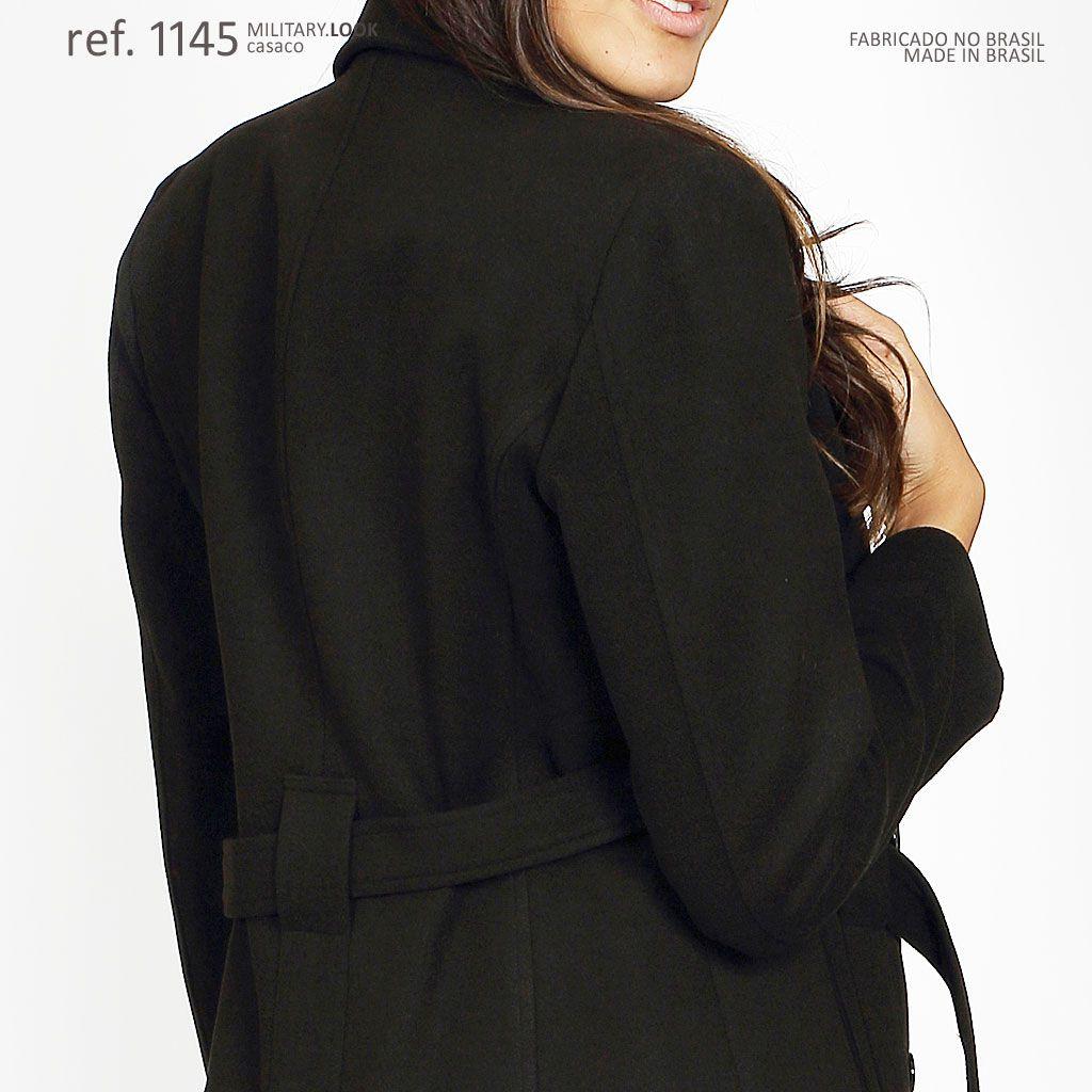 Casaco lã batido feminino plus size preto - Ref. 1145