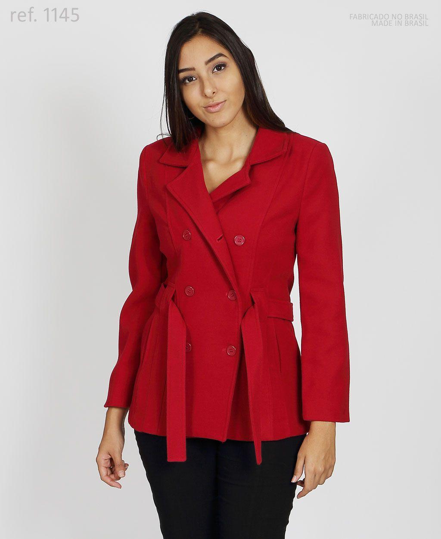 Casaco lã batido feminino plus size Vermelho - Ref. 1145