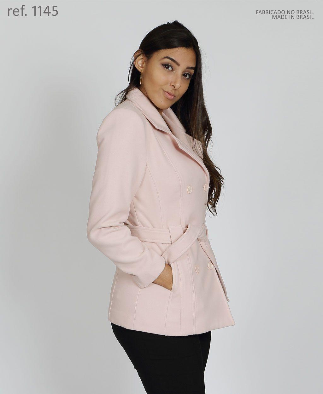 Casaco lã batido feminino Rosa tamanho 50 plus size - Ref. 1145