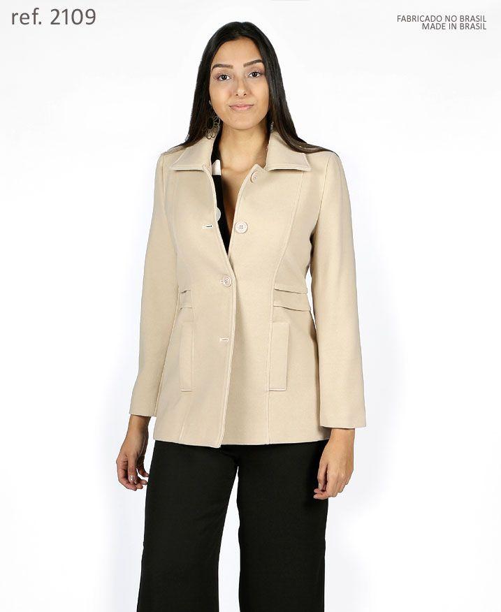 Casaco lã Sobretudo feminino Areia Ivory plus size - Ref. 2109